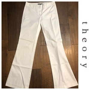 Theory White Wide Leg Slacks Sz 4